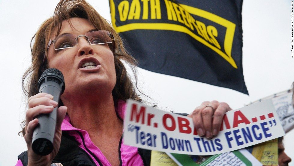 Palin fires up a rally of veterans, their families and supporters at the World War II Memorial in Washington during the partial government shutdown in October 2013.