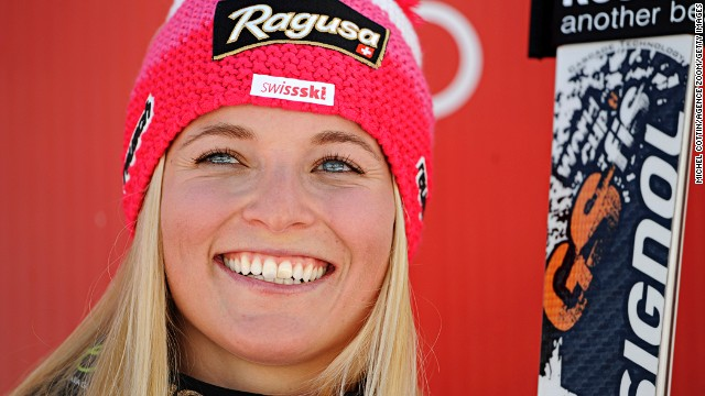 Lara Gut won her first World Cup giant slalom race at Soelden, Austria on Saturday.