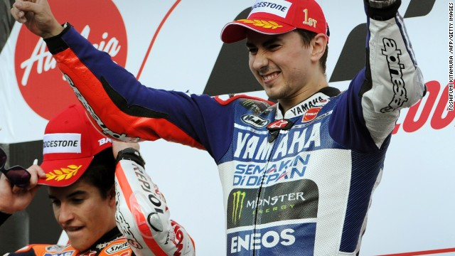 Jorge Lorenzo takes the plaudits at the Japan MotoGP ahead of second placed Marc Marquez.