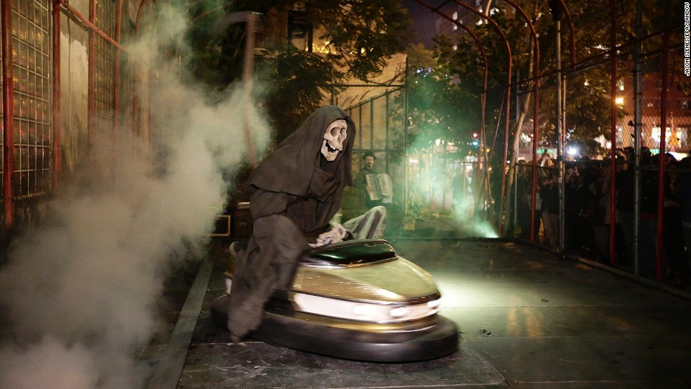 "The amusement park theme also made its way to New York's Lower East Side, during his month-long ""residency"" with this ghoulish exhibit ""Grim Reaper Bumper Car."""