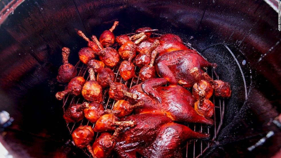 Before they hit the competition boxes, chickens are smoked for many hours for optimal tenderness and flavor.