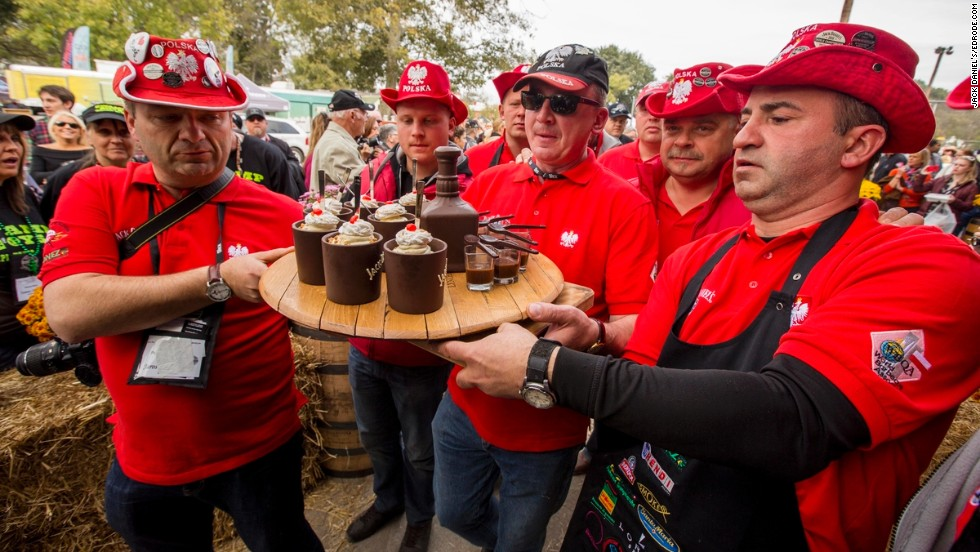 The Polish BBQ Kings team from, yes, Poland, totes in its molded chocolate dessert.