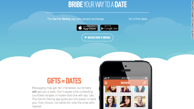 """The Carrot app is all about bribery. You can offer """"plastic surgery or a tank of gas,"""" the press release says."""