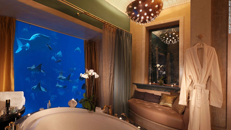 "In 2008, Atlantis, The Palm opened in Dubai with a built-in aquarium featuring 65,000 species of fish and sea creatures. Some suites look onto the giant fish tank. When it first opened, the aquarium housed a whale shark dubbed ""Sammy"", inspiring outrage among a number of animal rights groups. The resort later claimed it released Sammy into the wild."