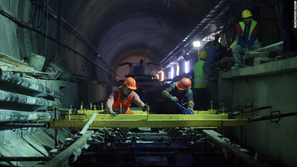 Employees work on the Marmaray tunnel April 18.