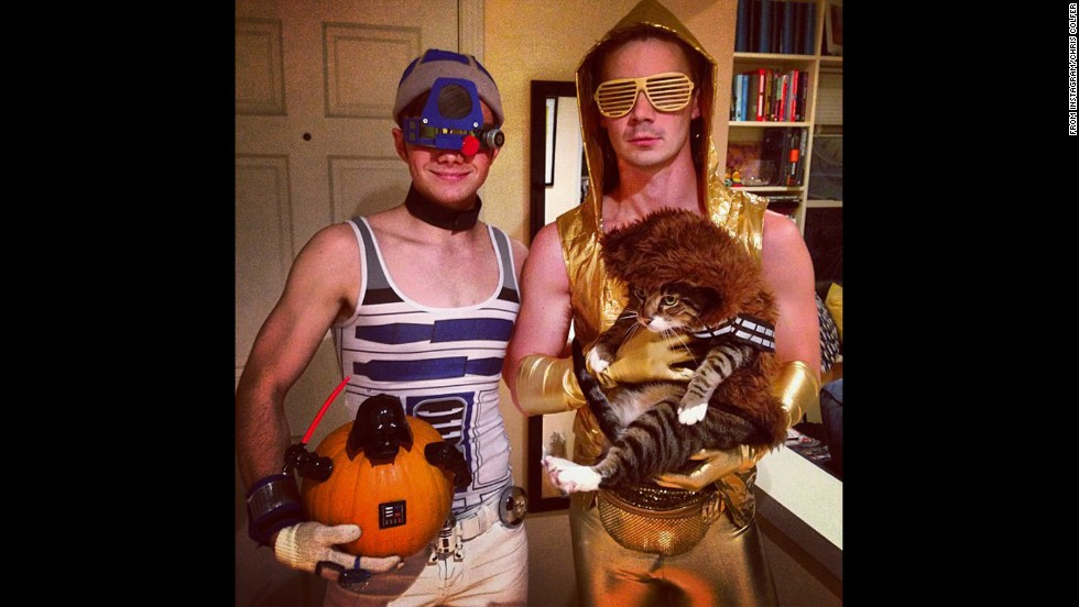 "For Halloween 2013, ""Glee's"" Chris Colfer (left) <a href=""http://instagram.com/p/f9NYYxNdbx/"" target=""_blank"">decided to dress up as</a> ""a character whose sex appeal is always ignored ... sexy R2D2!"" He even accessorized with a pumpkin Darth Vader."