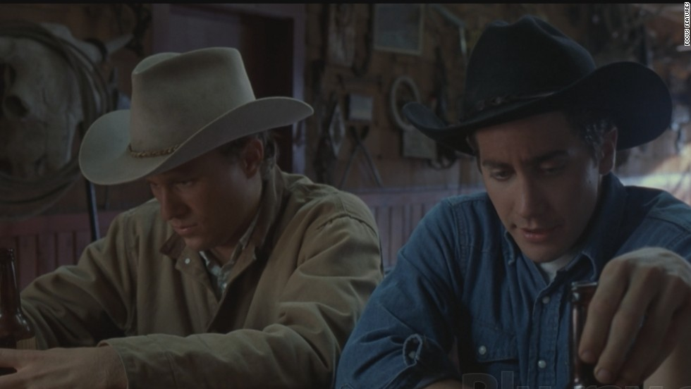 "Heath Ledger, left, and Jake Gyllenhaal share a cowboy love that dare not speak its name in ""Brokeback Mountain."""