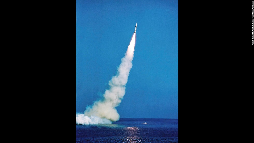 A Chinese navy nuclear submarine launches a carrier rocket in 1988.