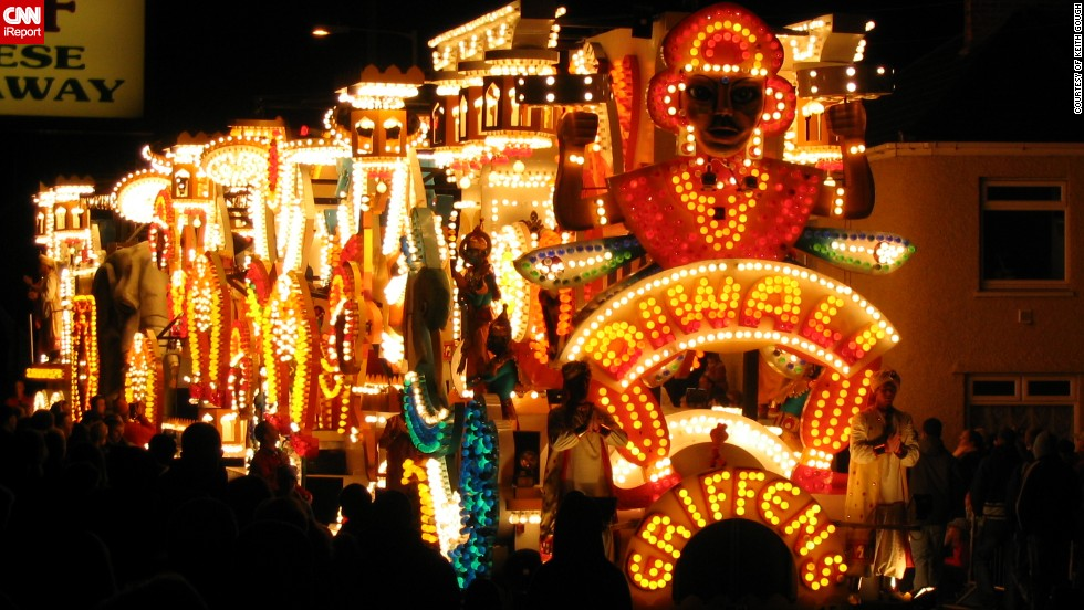 "This spectacular Diwali themed float illuminated the British town of North Petherton during the annual Guy Fawkes celebrations. It is part of the <a href=""http://ireport.cnn.com/docs/DOC-1046194"" target=""_blank"">Bridgwater Carnival</a>, which is one of the largest illuminated carnivals in Europe. ""The carts have been limited to the total length, height and width to make sure they fit down our narrow roads. They can have up to 10,000 light bulbs on them. It is free to attend but people collect money which is then distributed among the local charities,"" said Keith Gough, 46, who took this photo."