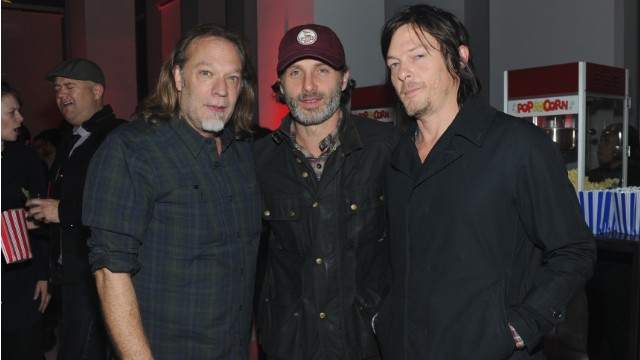 "Director Greg Nicotero, from left, with ""Walking Dead"" actors Andrew Lincoln and Norman Reedus."
