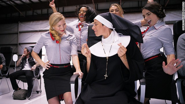 Former Olympian Tamara Campos stars as the nun, a character revived from the old Virgin America safety video.