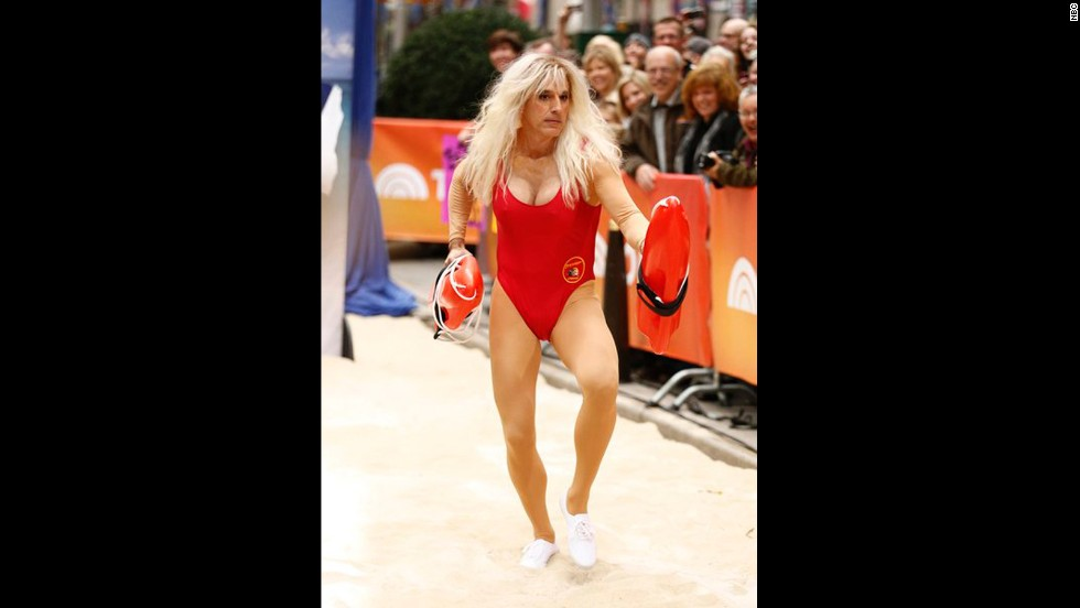 """""""Today's"""" Matt Lauer clearly places no limits on what he'll do for the morning news program. For Halloween 2013, he dressed up as Pamela Anderson from """"Baywatch."""""""