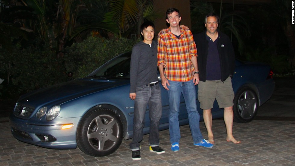 The team poses at the Portofino Hotel and Marina, in Redondo Beach, California, after shattering the record.