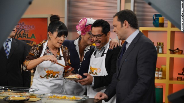 """Despierta America"" host Karla Martinez, left, appeared with co-host Raul Martinez on ""Good Morning America."""