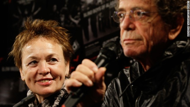 Laurie Anderson looks on as husband Lou Reed attended a media conference to launch the Vivid LIVE program at Sydney Opera House on May 28, 2010 in Sydney, Australia. V