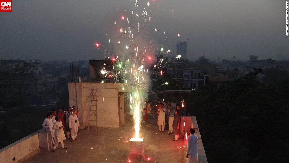"Last year Devender Kumar and his colleagues decided to celebrate Diwali on the rooftop of their office building in <a href=""http://ireport.cnn.com/docs/DOC-1044761"" target=""_blank"">Uttar Pradesh, India</a>. ""This year I will celebrate Diwali with my family and friends, starting with puja (a religious ritual), and lighting lamps all around as Diwali is festivals of lights,"" said the 28-year-old."