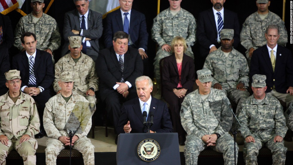 Biden presides over a ceremony in Baghdad to formally mark the end of the U.S. combat mission in Iraq on September 1, 2010.