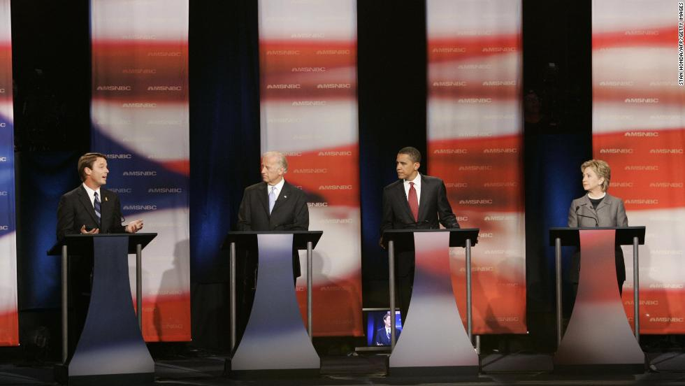 From left, former Sen. John Edwards, Biden, Obama and Sen. Hillary Clinton at a debate of Democratic presidential candidates on April 26, 2007, in Orangeburg, South Carolina.