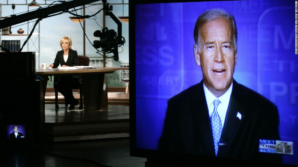 "As a ranking member of the Senate Foreign Relations Committee, Biden is interviewed on NBC's ""Meet the Press,"" concerning the war in Iraq on August 14, 2005."