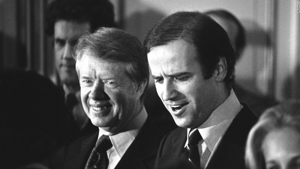 President Jimmy Carter and Biden attend a reception for the Delaware Democratic Party in 1978. Biden was the first senator to endorse Carter's presidential candidacy two years earlier.