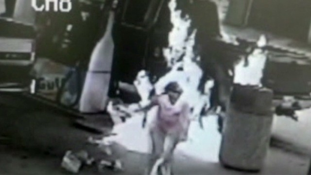 Man accidentally sets wife on fire