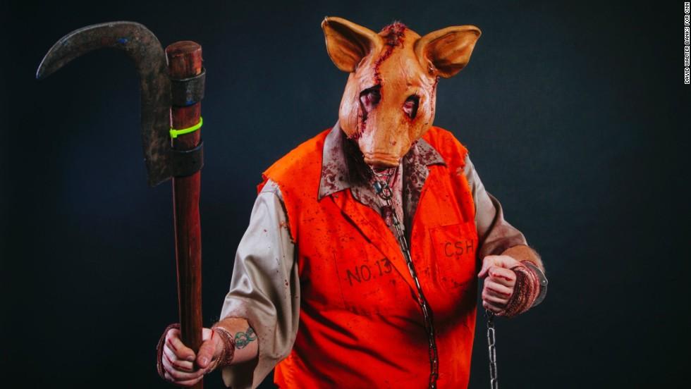 """Bob """"Pork"""" Bass poses as his character """"Human Pork."""""""