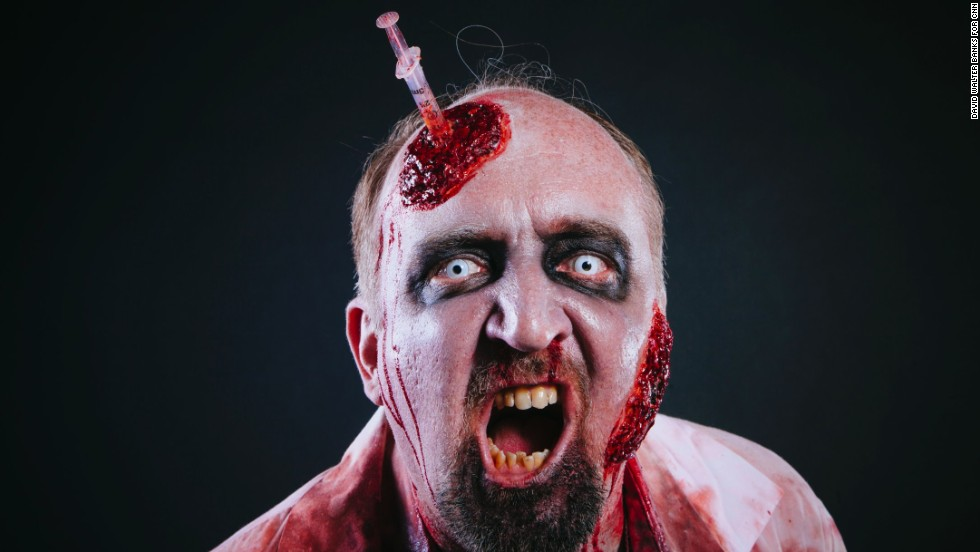 """Stan Bowman, who has been interested in zombies since a kid, poses as his character """"Stan the Zombie."""""""