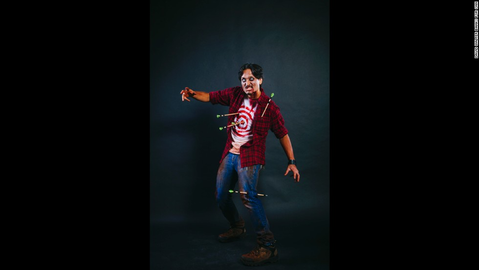 """Philip Quilang dressed as the self-titled zombie """"Target Practice."""""""