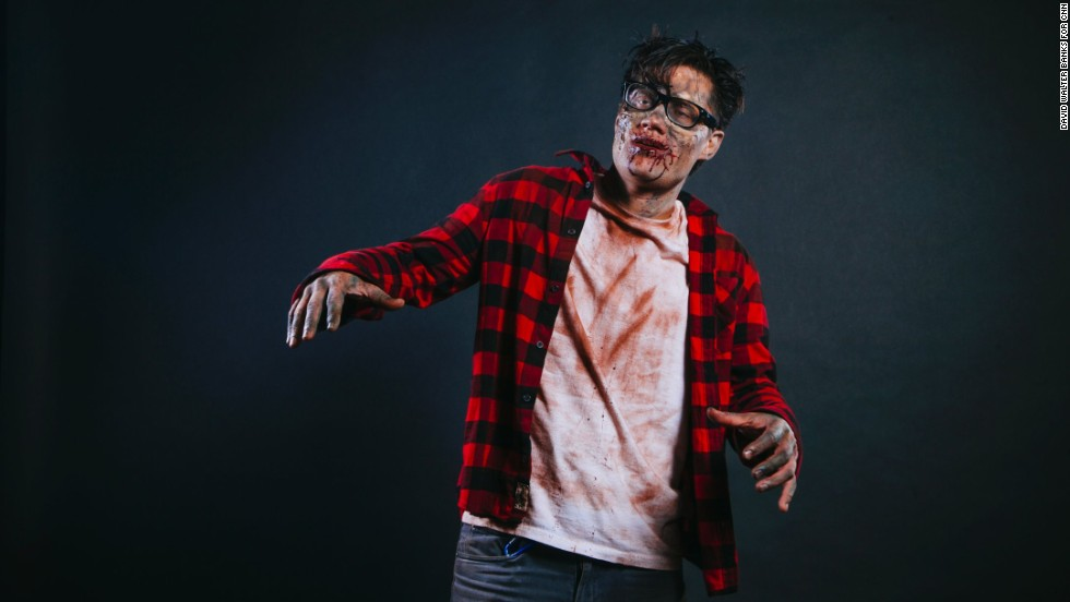 Josh Longino is a zombie with the haunted house Chambers of Horror.