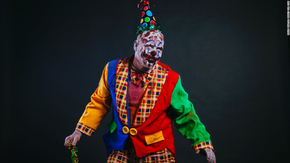 Shaun Dunn, from Atlanta, dressed as a zombie clown.