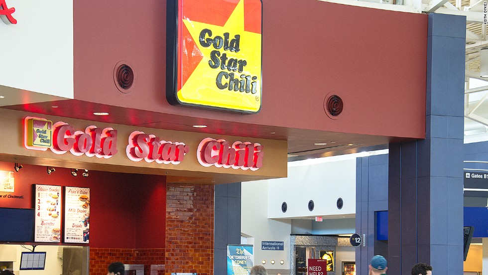 Order the soupy, Greek-style chili, shredded cheddar and onions or beans atop your spaghetti for an authentic local order at the Cincinnati airport.