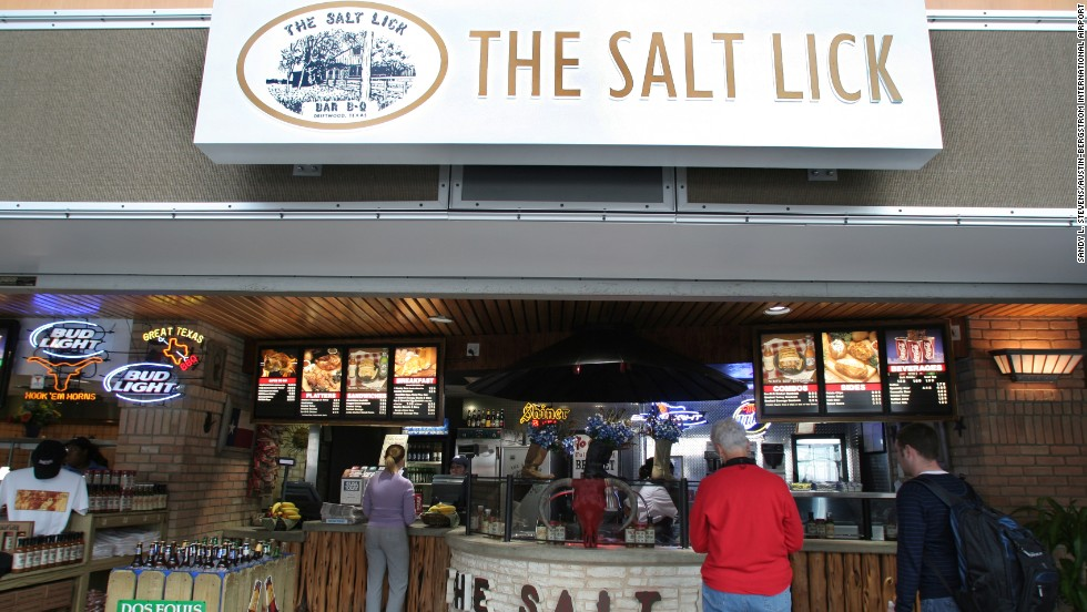 People come to the Austin airport early to enjoy some Salt Lick barbeque.