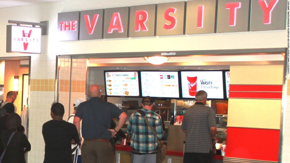 Order chili-cheese dog, fried peach pie and a Varsity orange soda at the restaurant's Atlanta airport location for a complete meal.