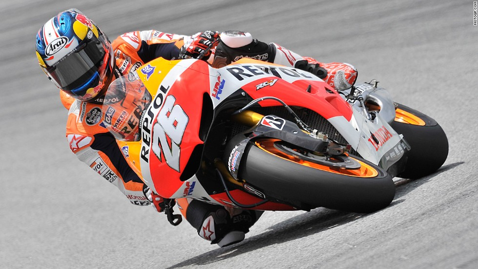 Marquez and Lorenzo have developed a fierce rivalry, while the young pretender has also been making enemies within the Honda camp. Teammate Dani Pedrosa, pictured, was on the receiving end of Marquez's aggressive style at the Aragon Grand Prix when the pair came together while battling for second place. Marquez was deducted one point and warned about his driving style.