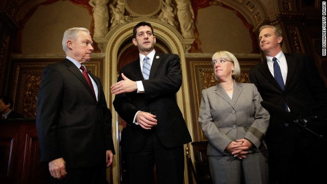 Budget conference members, from left, Sen. Jeff Sessions, Rep. Paul Ryan, Sen. Patty Murray and Rep. Chris Van Hollen.