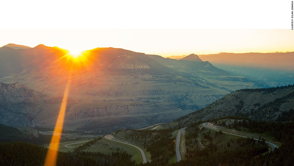 Six months in the planning, the trip seemed like a fun way to spend the summer between college and the rest of their lives. A sunset over Chief Joseph Scenic Byway in northwestern Wyoming is shown here.