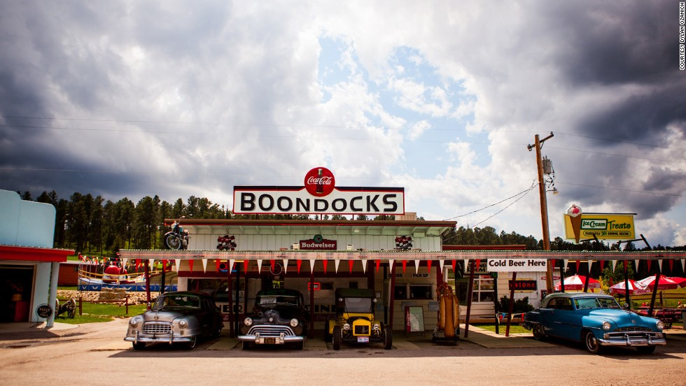 The trio biked through 28 states and one Canadian province, discovering diners and other American wonders along the way. Boondocks, a 1950s themed diner in the Black Hills of South Dakota, is shown here.