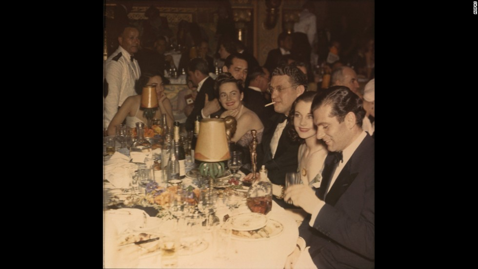 "This rare color photograph from the 12th annual Academy Awards shows Leigh, second from right, on the night she won Best Actress for her role as Scarlett O'Hara in ""Gone With the Wind."" Seated with Leigh at far right is her future husband Laurence Olivier.<br /><em>Image courtesy of ""Vivien Leigh: An Intimate Portrait"" (Running Press)</em>"
