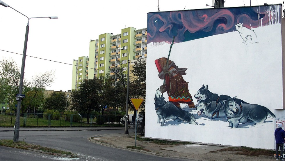 """Eskimo"" painted on a building in Bydgoszcz in 2011."