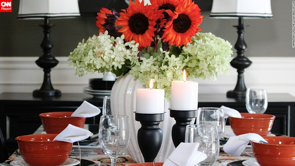 "<a href=""http://www.theyellowcapecod.com/"" target=""_blank"">Interior design blogger Sarah Macklem</a> also likes to add flowers to a room for a touch of orange."
