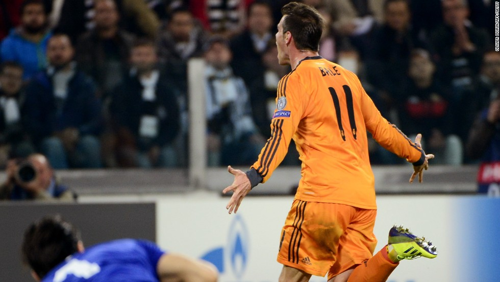 Gareth Bale wheels away after scoring Real Madrid's second goal against Juventus in Turin.