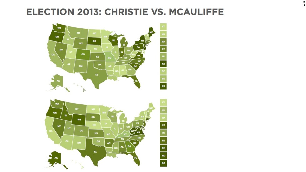 With Election 2013 bringing voters to the polls in several states, CNN decided to take a look at two prominent candidates. These maps shows Facebook mentions of New Jersey Gov. Chris Christie (top) and Terry McAuliffe, a gubernatorial candidate in Virginia, over the span of 10 days starting at noon on October 26. Darker shades represent greater numbers of mentions per capita. Christie got 128,000 mentions (about 45,000 from New Jersey), while McAuliffe got 121,000 (about 28,700 of them came from Virginia).<br /><br />SOURCE: Facebook