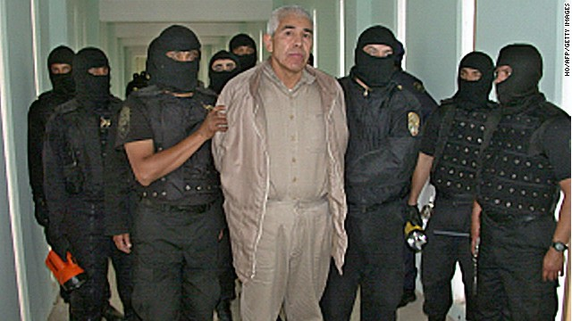 "File picture of former top Mexican drug cartel boss, Rafael Caro Quintero, under custody at the ""Puente Grande"" prison in Guadalajara on January 29, 2005. Caro Quintero, who masterminded the kidnap and murder of a US anti-drug agent, has been ordered released in Mexico on August 9, 2013. A criminal court in the western state of Jalisco ordered Rafael Caro Quintero's release on August 7, 2013, a court official told AFP. Caro Quintero had served 28 years in prison for the 1985 murder of US Drug Enforcement Administration special agent Enrique Camarena, who was kidnapped in Guadalajara and tortured and murdered. As of June, Caro Quintero was still wanted in California on charges related to the murder and to drug trafficking."