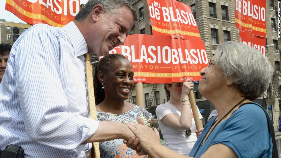 De Blasio and McCray greet voters on the Upper West Side on September 10 during the Democratic primary. De Blasio entered the primary with 10% support among voters.