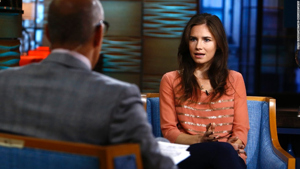 "Amanda Knox appears on NBC's ""Today"" show. <a href=""http://topics.cnn.com/topics/amanda_knox"">Knox </a>spent four years in jail because of murder charges in the death of her roommate Meredith Kercher while studying abroad in Perugia, Italy."