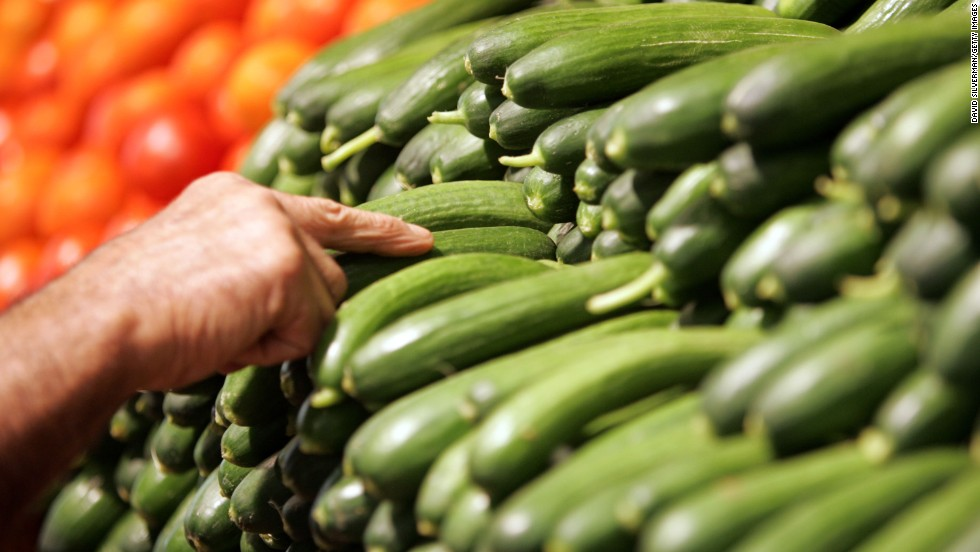 "<strong>Cucumber</strong><br />Water content: 96.7%<br /><br />This summer veggie — which has the <a href=""http://ndb.nal.usda.gov/ndb/foods/show/2945"" target=""_blank"">highest water content </a>of any solid food — is perfect in salads, or sliced up and served with some hummus, says Keri Gans, author of ""The Small Change Diet: 10 Steps to a Thinner and Healthier You"" and a consultant to Mindbloom, a technology company that makes life-improvement apps.<br /><br />Want to pump up cucumber's hydrating power even more? Try blending it with nonfat yogurt, mint, and ice cubes to make cucumber soup. <br /><br /><a href=""http://www.health.com/health/gallery/0,,20660118,00.html"" target=""_blank"">Health.com: The best foods for every vitamin and mineral</a><br />"