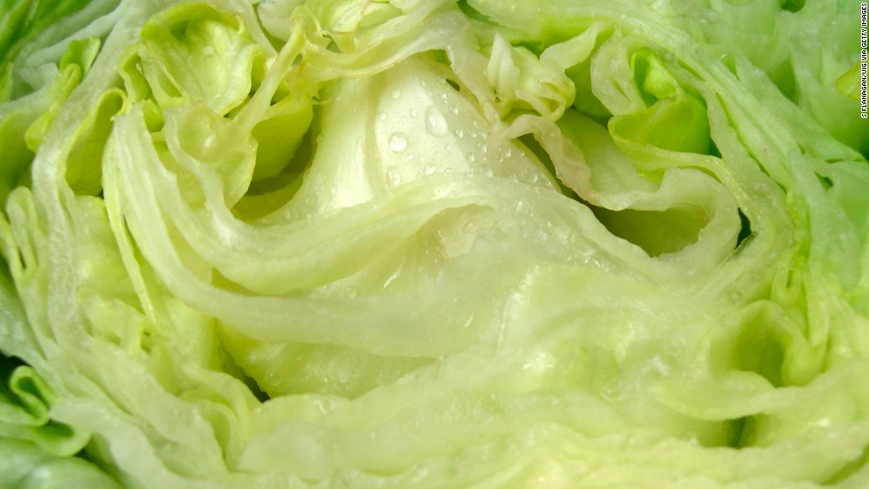 "<strong>Iceberg lettuce</strong><br />Water content: 95.6%<br /><br />Iceberg lettuce tends to get a bad rap, nutrition-wise. Health experts often recommend shunning it in favor of darker greens like spinach or romaine lettuce, which contain higher amounts of fiber and nutrients such as folate and vitamin K.<br /><br /> It's a different story when it comes to water content, though: Crispy iceberg has the highest of any lettuce, followed by butterhead, green leaf, and romaine varieties.<br /> <br />So when the temperature rises, pile iceberg onto sandwiches or use it as a bed for a <a href=""http://www.health.com/health/gallery/0,,20401749,00.html"" target=""_blank"">healthy chicken salad</a>. Even better: Ditch the tortillas and hamburger buns and use iceberg leaves as a wrap for tacos and burgers."