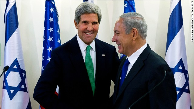 U.S. Secretary of State John Kerry (L) and Israeli PM Benjamin Netanyahu on September 15, 2013 in Jerusalem, Israel.