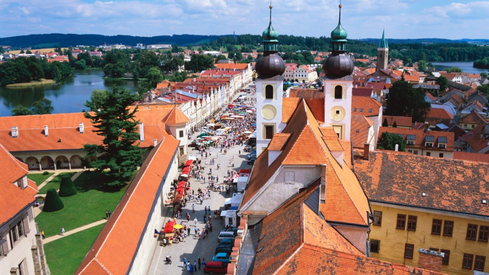 One building is lovelier than the next in the village of Telč, where residents were once quite competitive about the attractiveness of their homes.