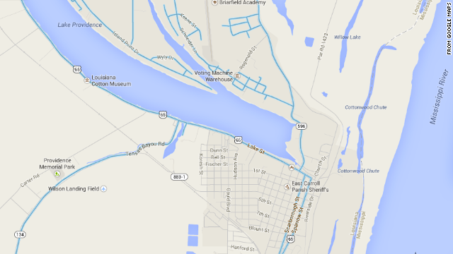 The poorer side of Lake Providence, Louisiana, does not appear in Google street view, which is marked in blue.